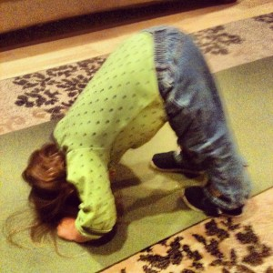 Toddler doing Downward Dog