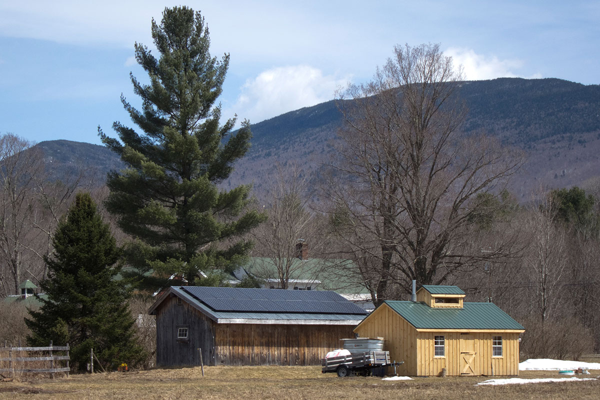 A shed with solar panels on the roof in Waterbury