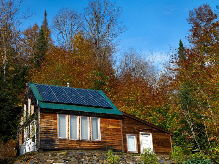 Vermont Cabin with solar panels on roof