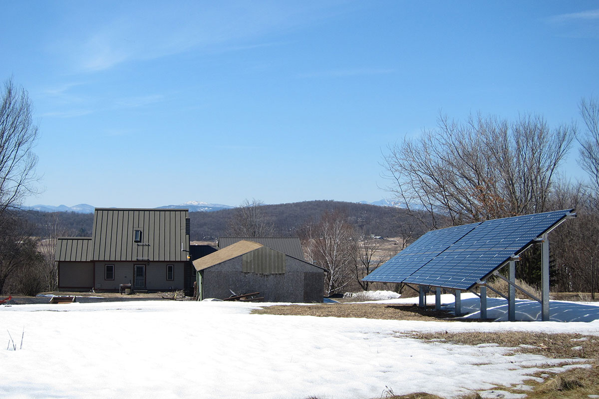 Ground mount solar in a field