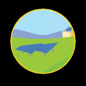 ground mount solar circle graphic