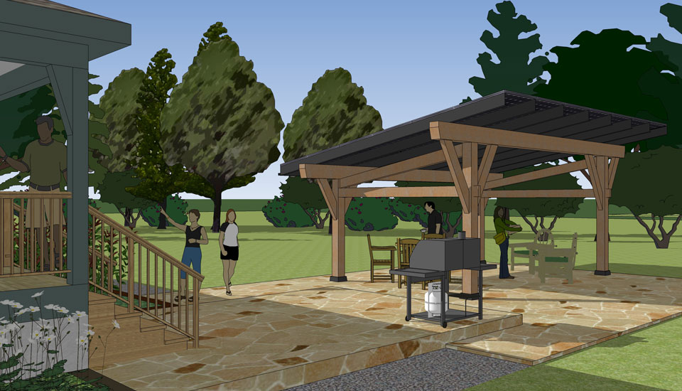 rendering of the solar canopy as a patio cover