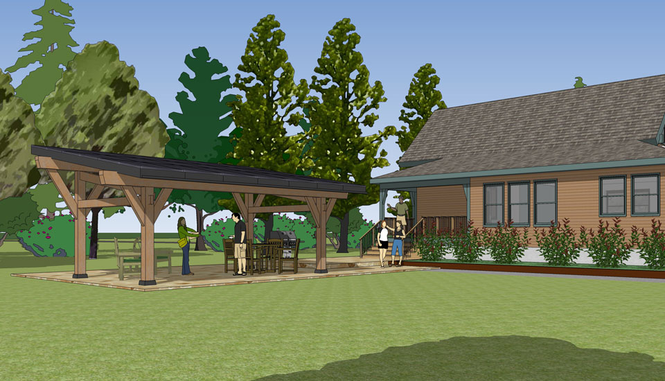 solar canopy in a backyard rendering