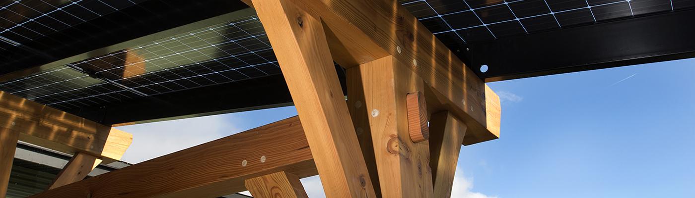 solar canopy timber frame close up shot
