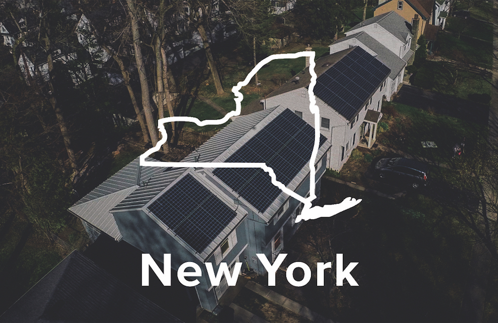 NY yard with New York state shape overlay