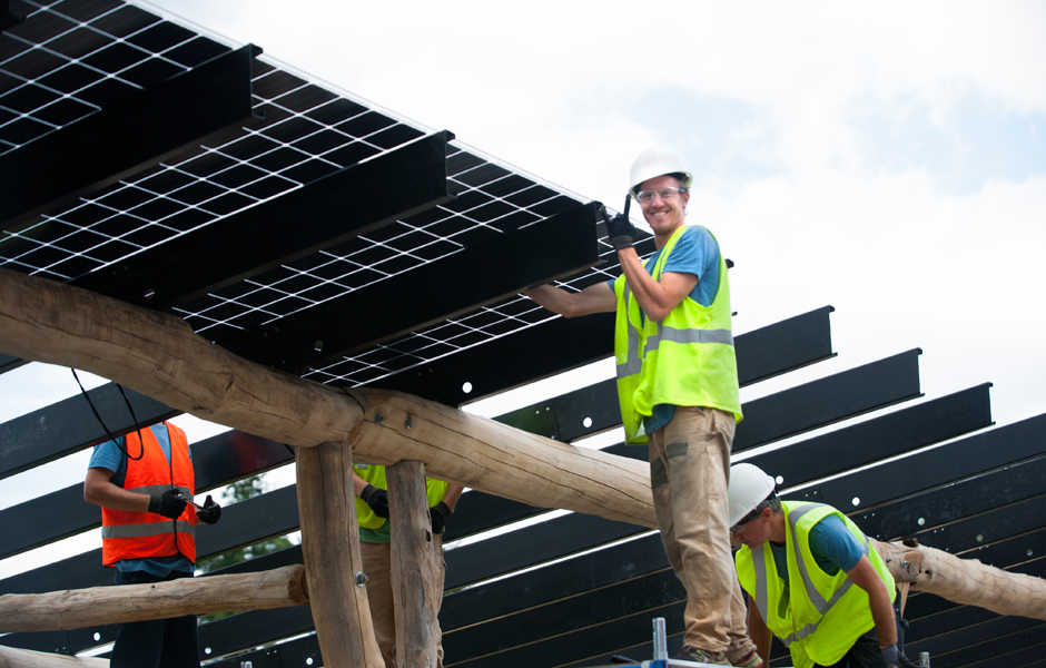 Installation panels on the Solar Canopies at Vermont Artisan Coffee