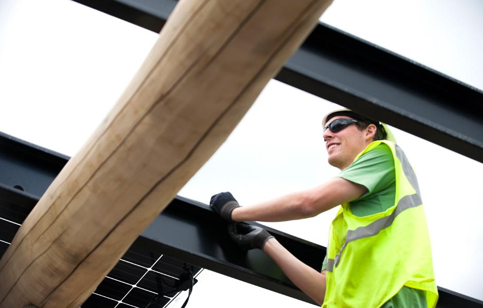 Smiling Crew at Vermont Artisan Coffee Solar Installation