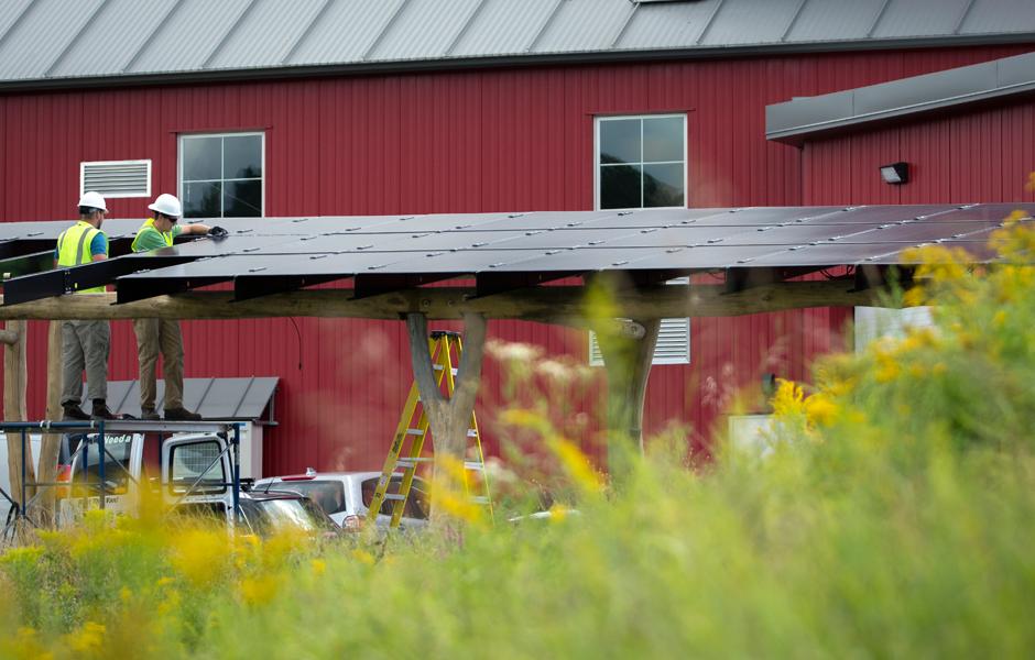 Vermont Artisan Coffee Solar Canopy Install Shot Landscape