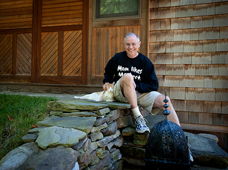David Pistilli in front of his Solar Home in Middlebury Vermont