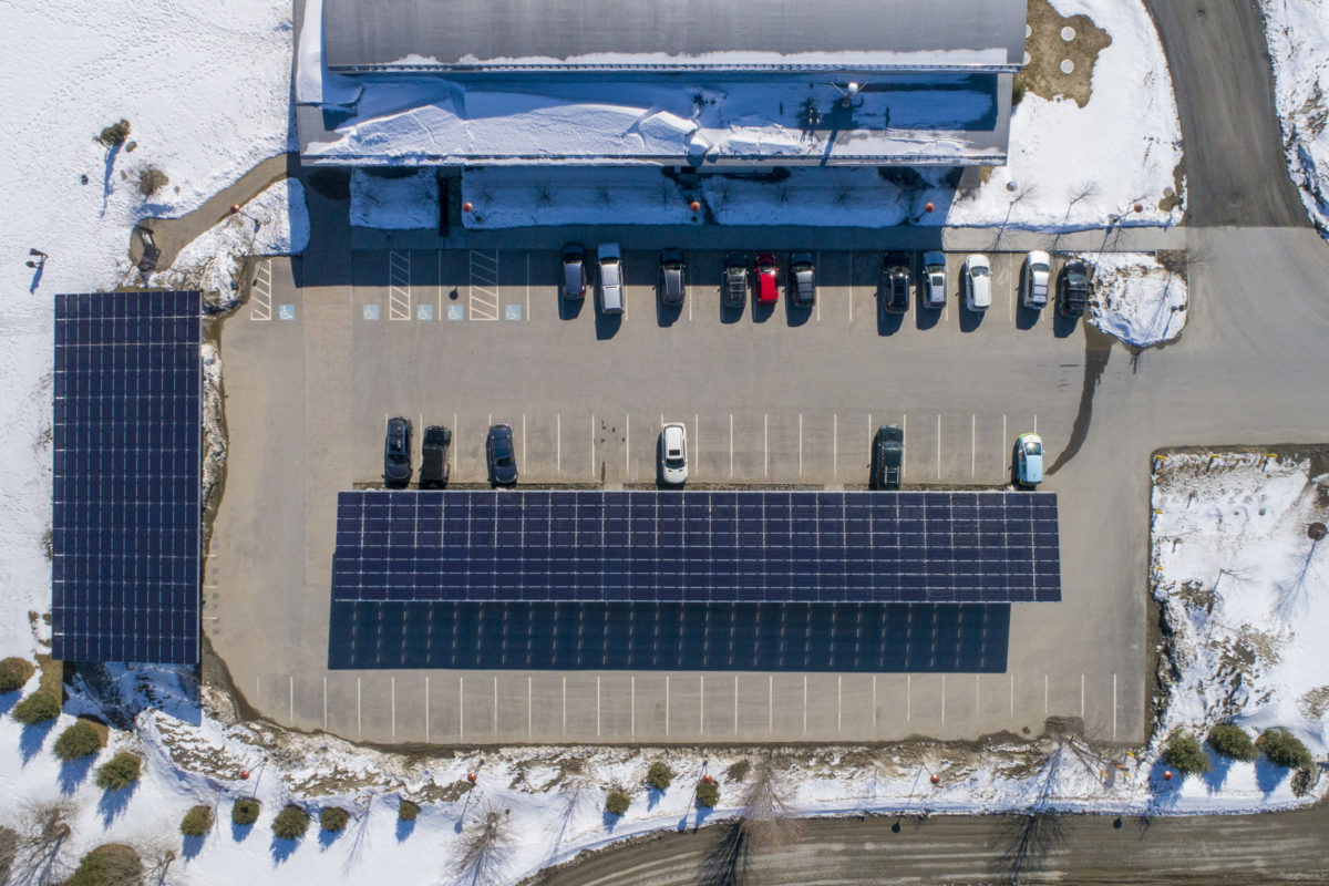 Alchemist Solar Parking Canopy Aerial Drone Photo