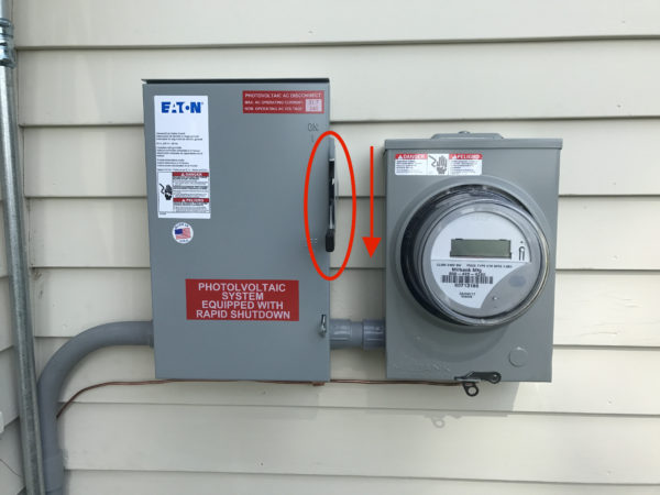 AC Disconnect Lever next to utility meter